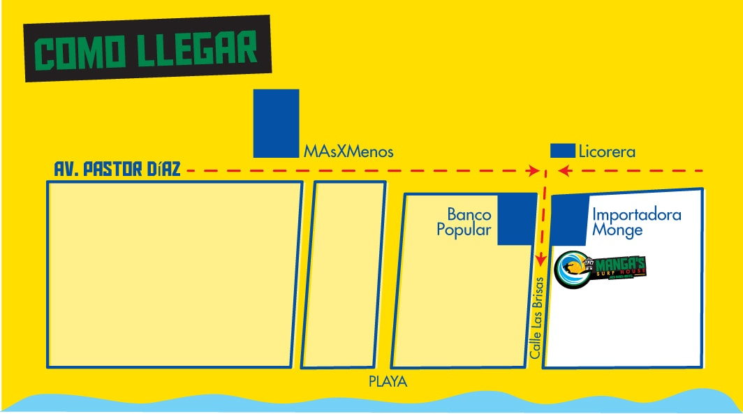 How to get to the hostel if you are in Jaco beach downtown?