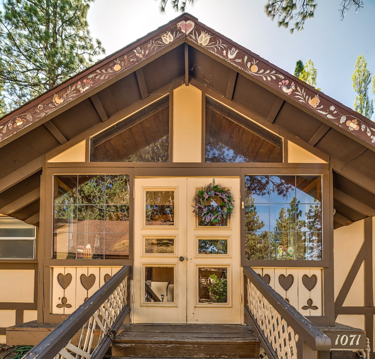The home is full of custom woodwork, from the old-fashioned front entry...