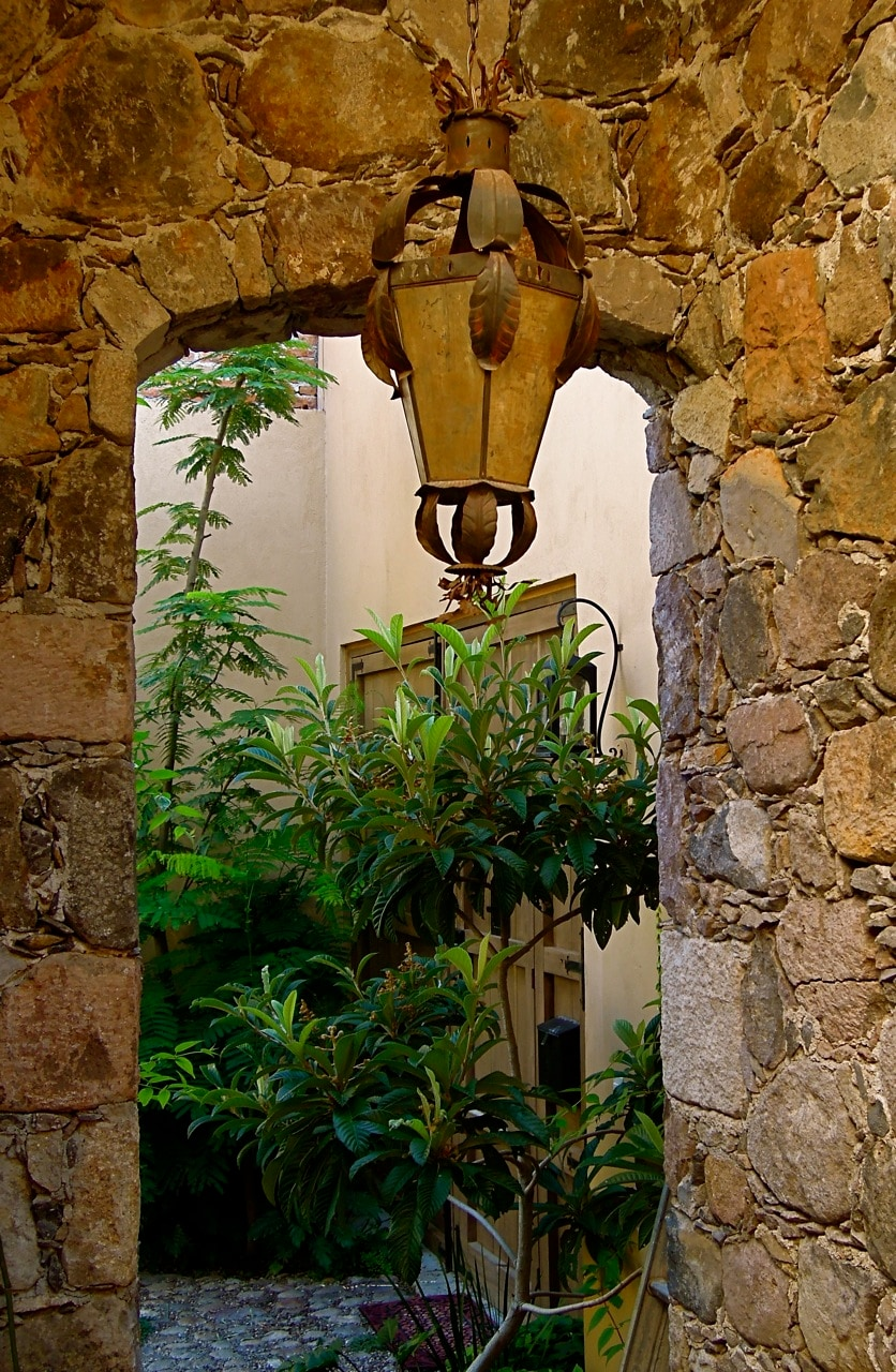 arched stone stairwell