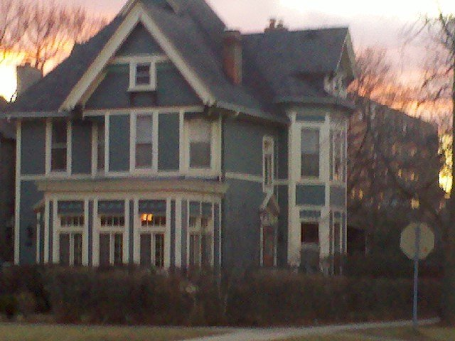 The Schell House, in the setting sunlight.