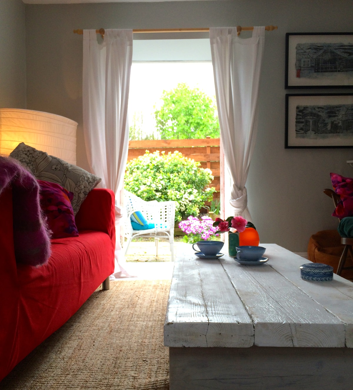 A view from the sitting room onto the private south west facing garden