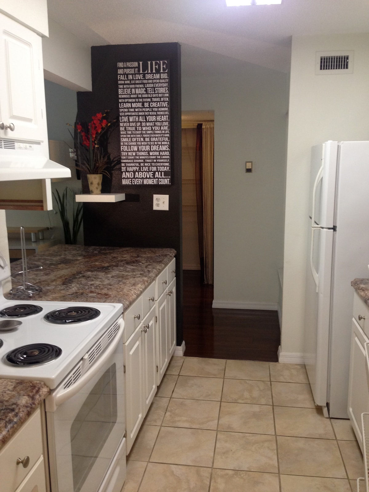 Kitchen includes dishwasher, stove, refrigerator, all pots/pans, dishes. Pantry has washer/dryer.