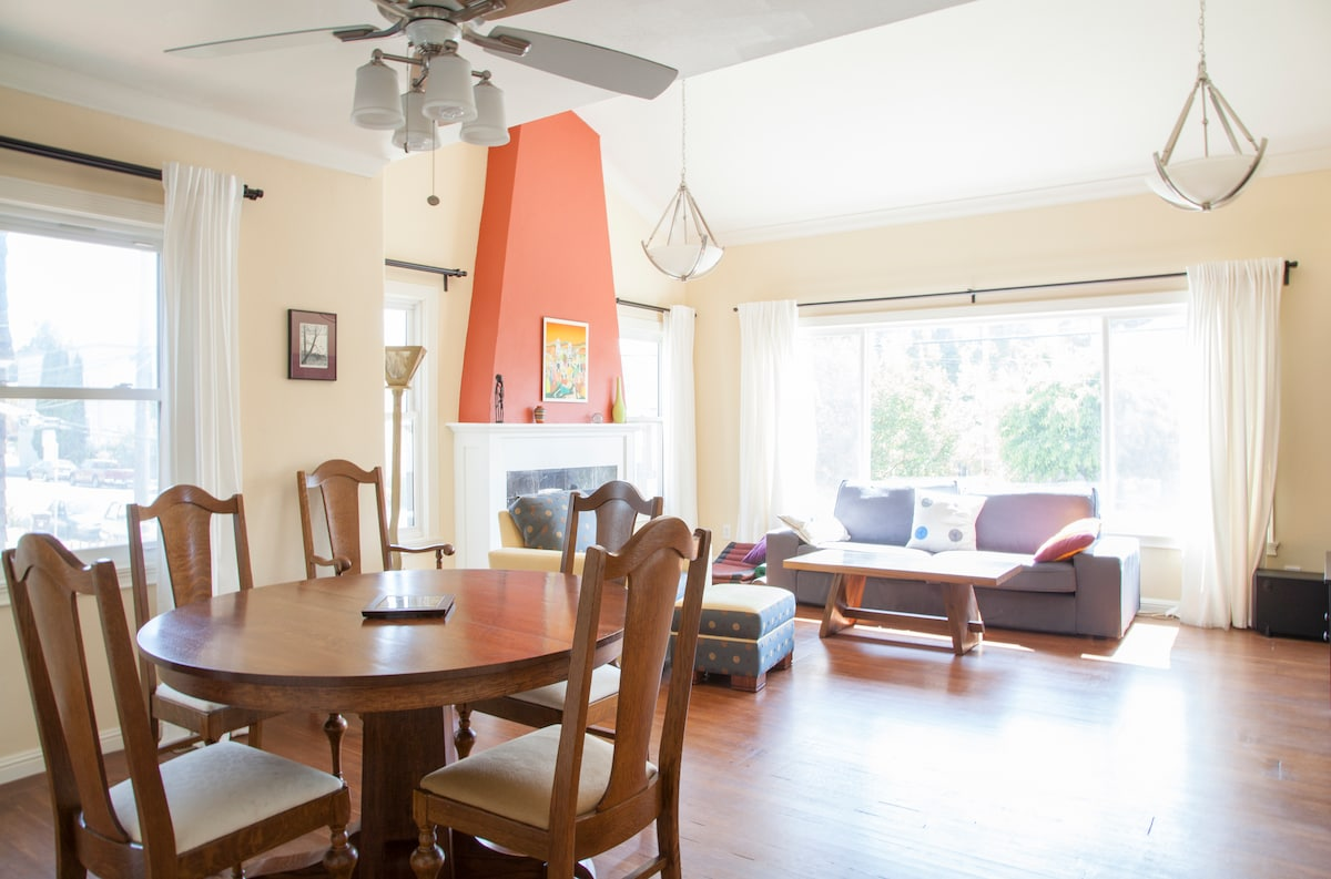 Hardwood floors in living room/dining room and the two bedrooms.