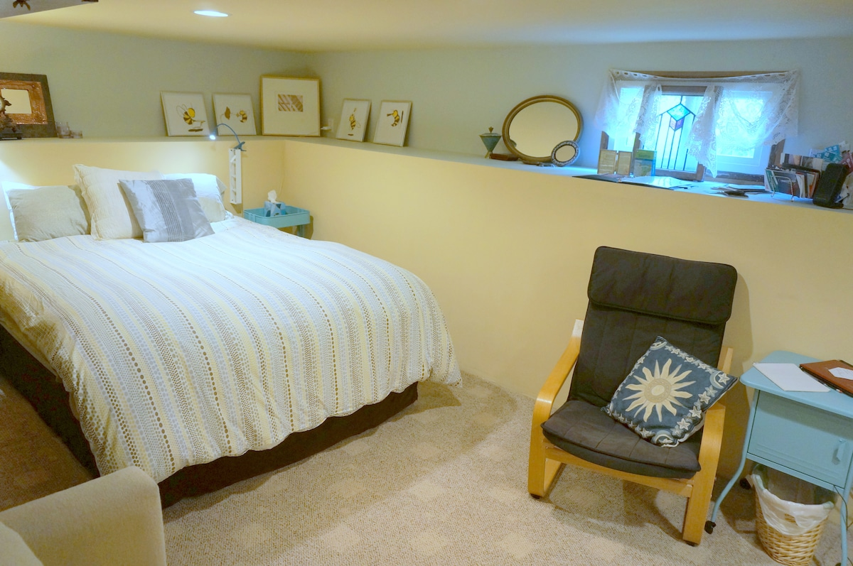 The very private and large guest bedroom features a pillow top, queen-sized mattress with a quality down comforter.
