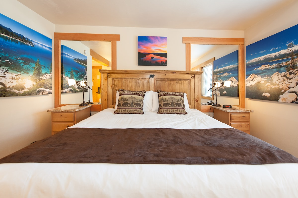 New King Bed with popular Tahoe Photography artwork.