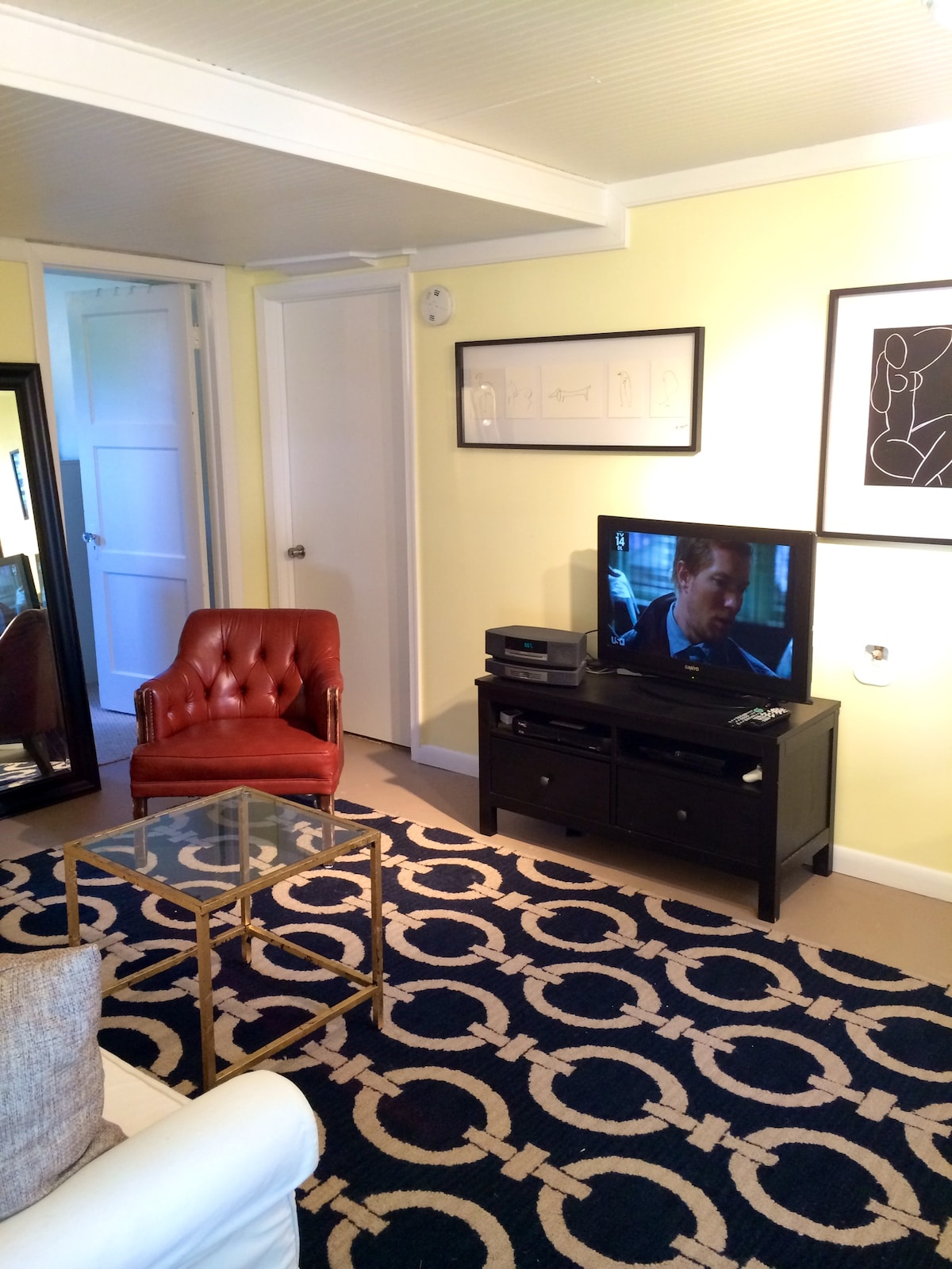"""32"""" flat screen TV with comprehensive cable package, PS3, and BOSE sound system with Aux cord and CD player."""