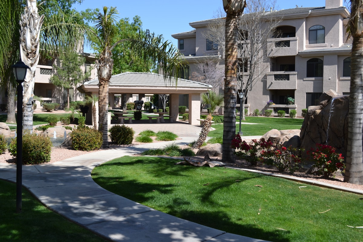 Beautiful grounds with soothing water fountains, palms, seating area's