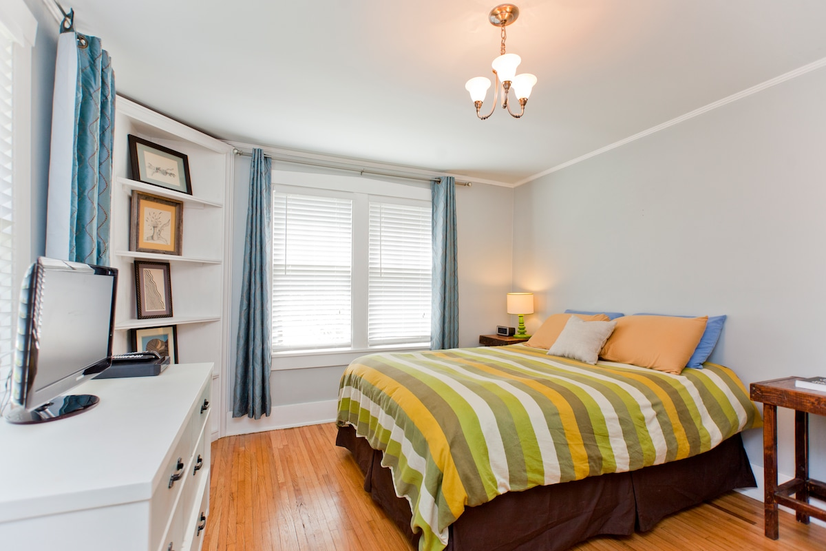 The master bedroom has a pillow top queen size mattress.