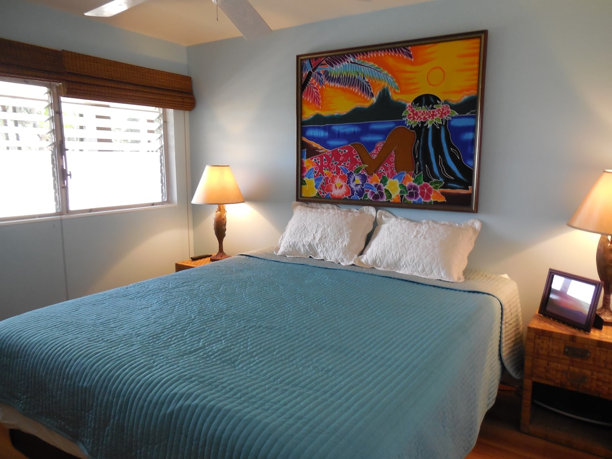 Spacious bedroom with a king-sized bed  Brand new mattress and linens