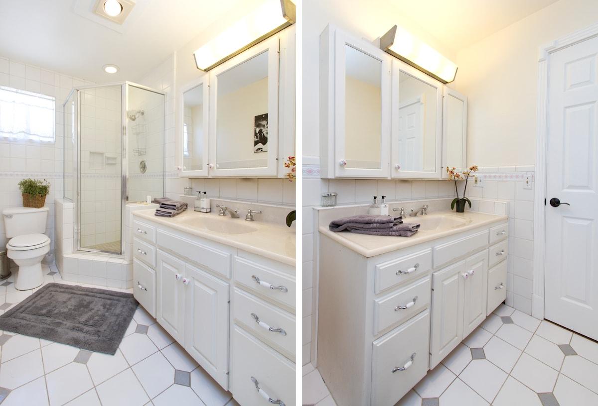 Clean, bright, private bathroom