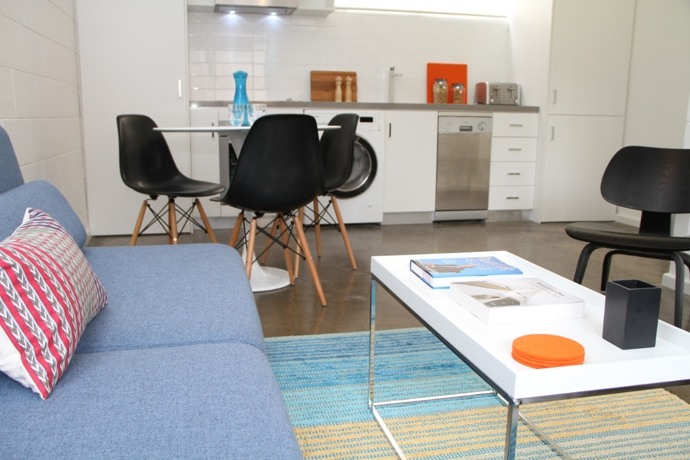 funky, bright open plan living, dining and kitchen zone