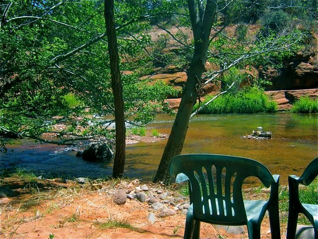 Just a short walk brings you here to a quiet, serene, private area right on Oak Creek.
