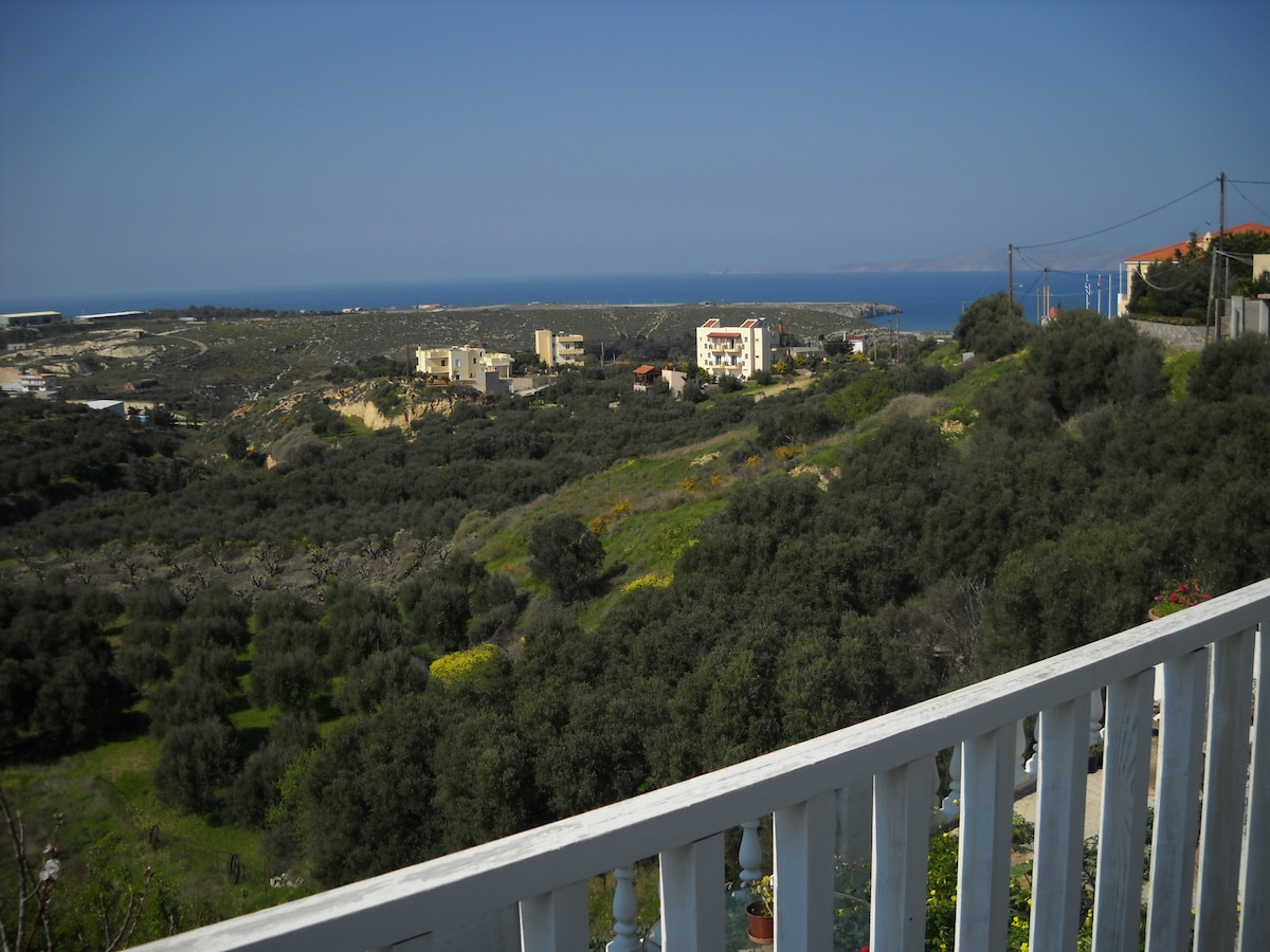 Your view from the house and deck , of olive groves , Mediterranean Sea and Dia Island !