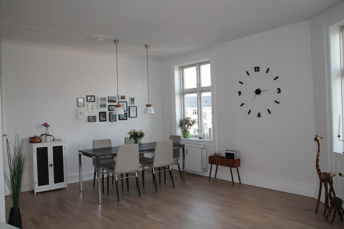 Large open living room with dinner table and sofa