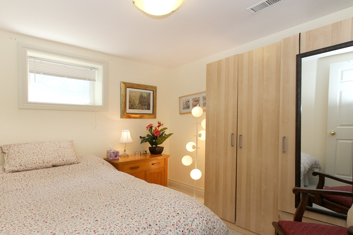 Bedroom #3 with double bed, armoir, down duvet