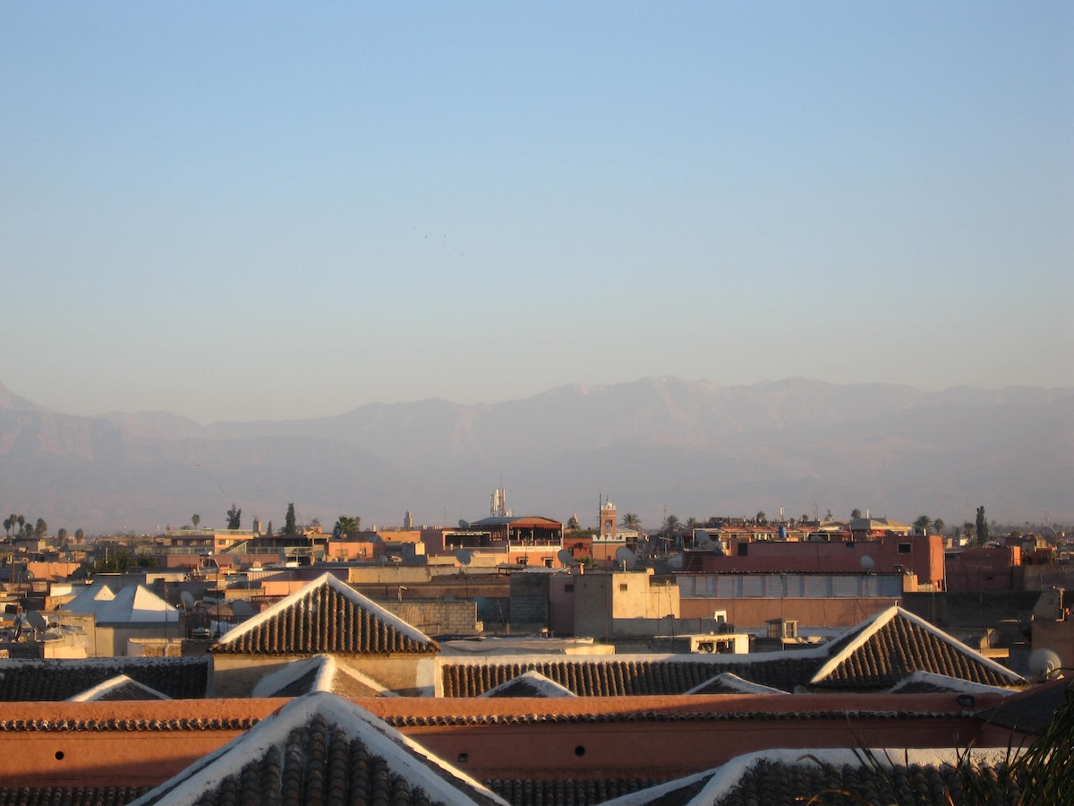 Panoramic view on the Atlas mountains and medina
