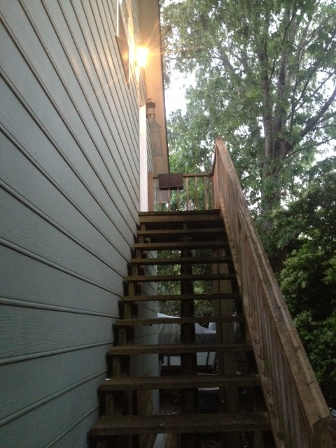 staircase up to apartment entrance