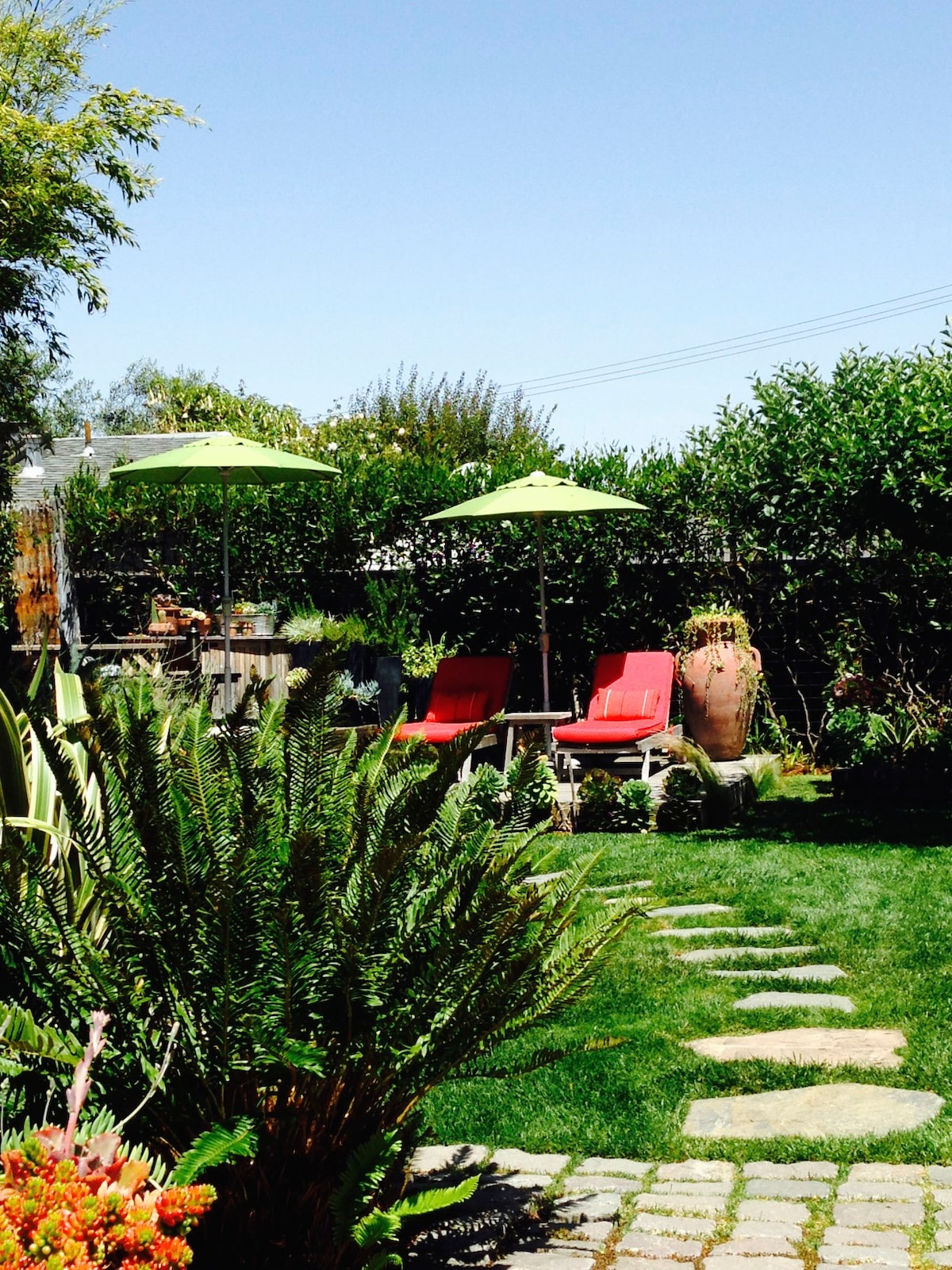 Relax on the red chaise lounges in the shared garden