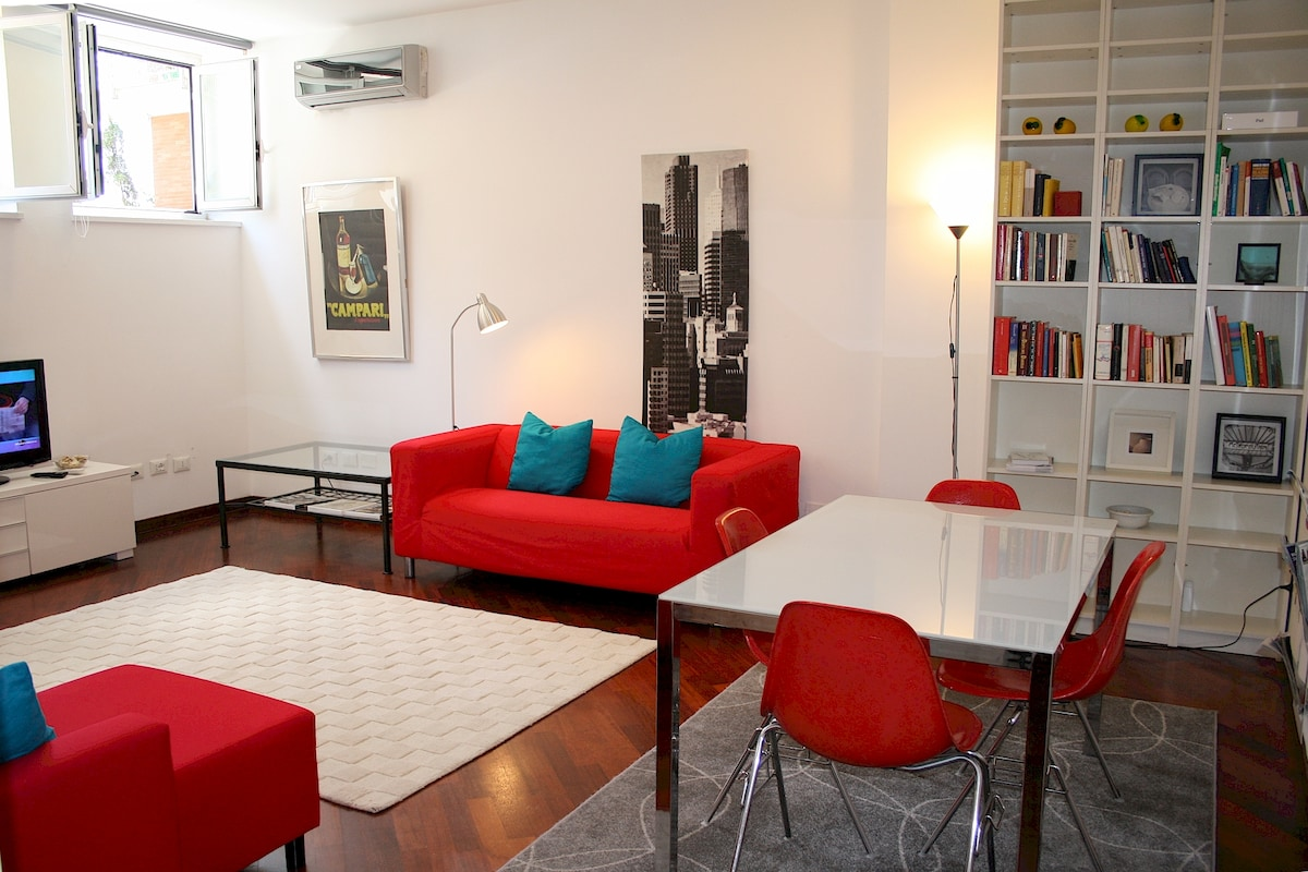 -- The living room - Wooden floor all over the apartment