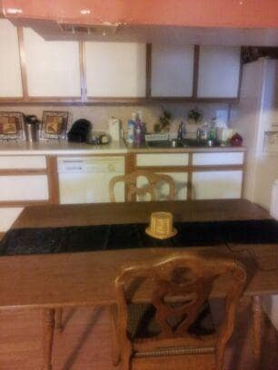 My kitchen is big, open and ready for a home cooked meal.