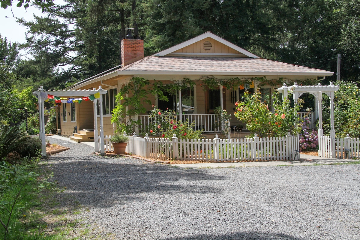Elizabeth's house is the first thing that you'll see at Shanti.