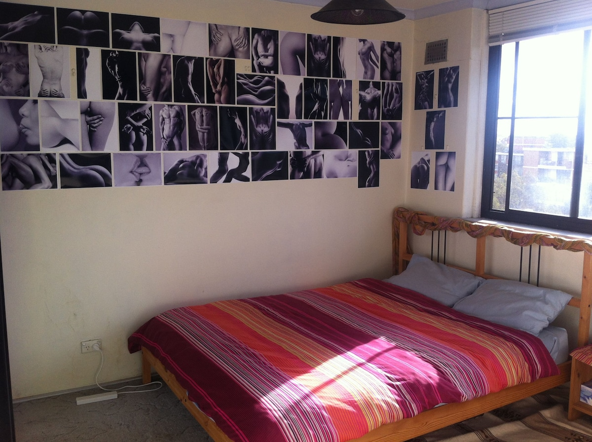 Large bedroom with a Queen size bed, very comfy, sunny room and a lot of space