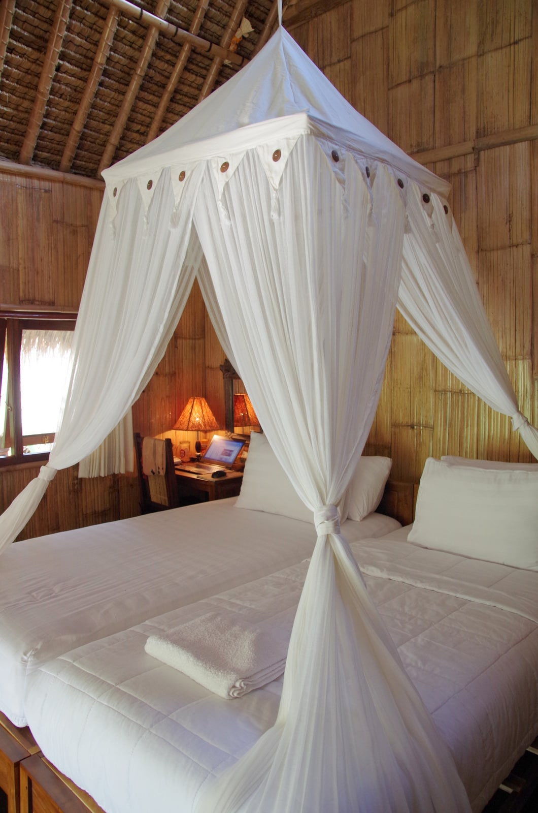Beds with mosquito net(also can make double bed setting)