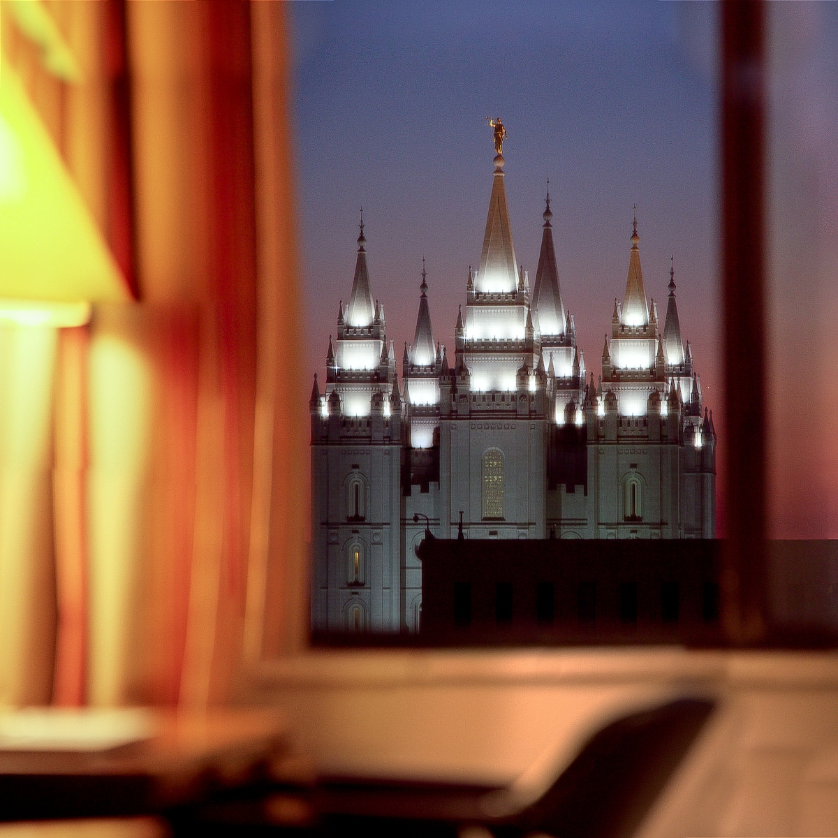 Beautiful view of the temple from the living room window.