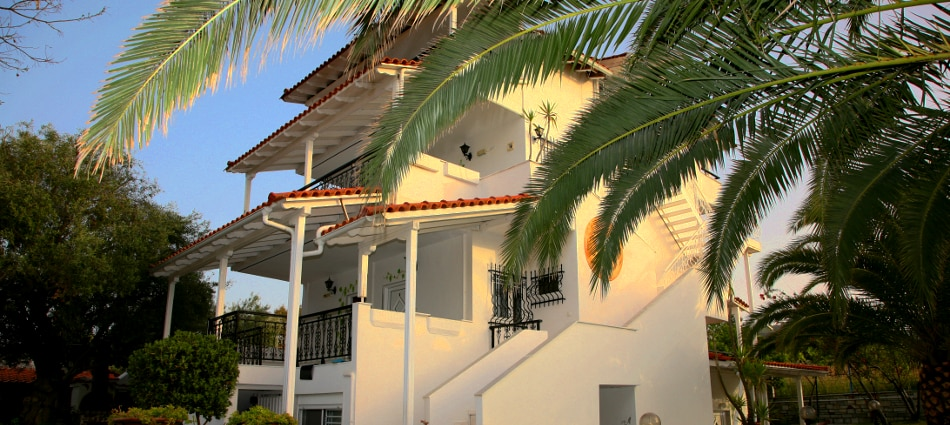 Front View of the Villa, August sunset.