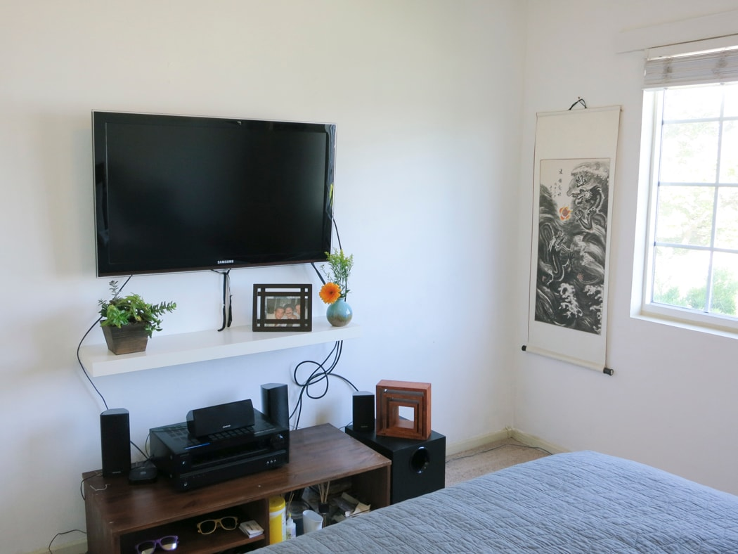 A television is available in the second bedroom, complete with Apple TV.