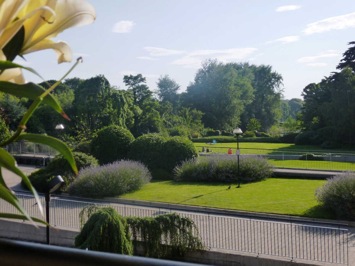 View from our southerly facing balcony in July. Complete with 2km view over open river parkland, communal garden and sunbathers!