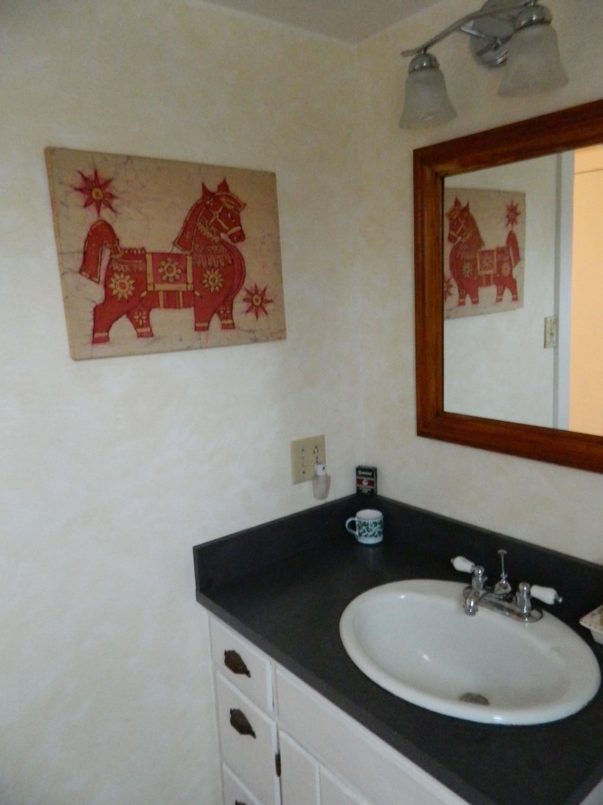 Nice tiled shower, but no tub.