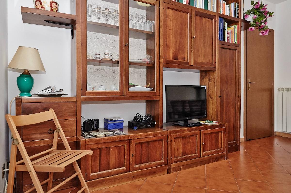 - Salotto particolare libreria e TV - Living room (library and TV)