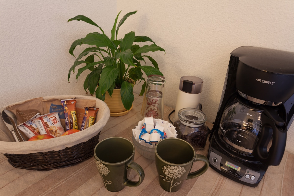 Yummy breakfast foods and coffee to relax with.