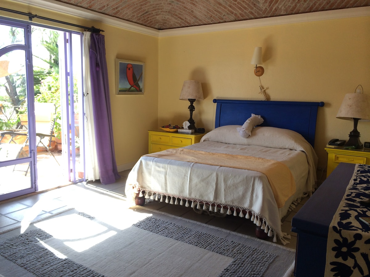 Master bedroom with queen, bathroom and private terrace with beautiful views.