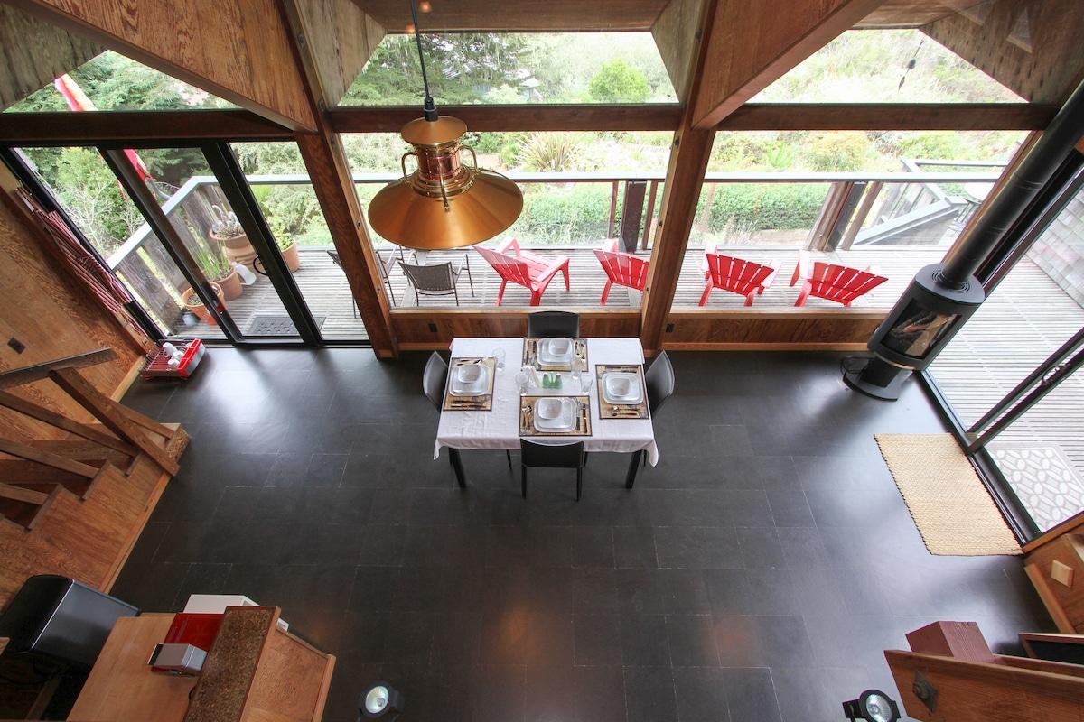 Main Bldg. Open Floor Plan Living. View from sleeping loft.