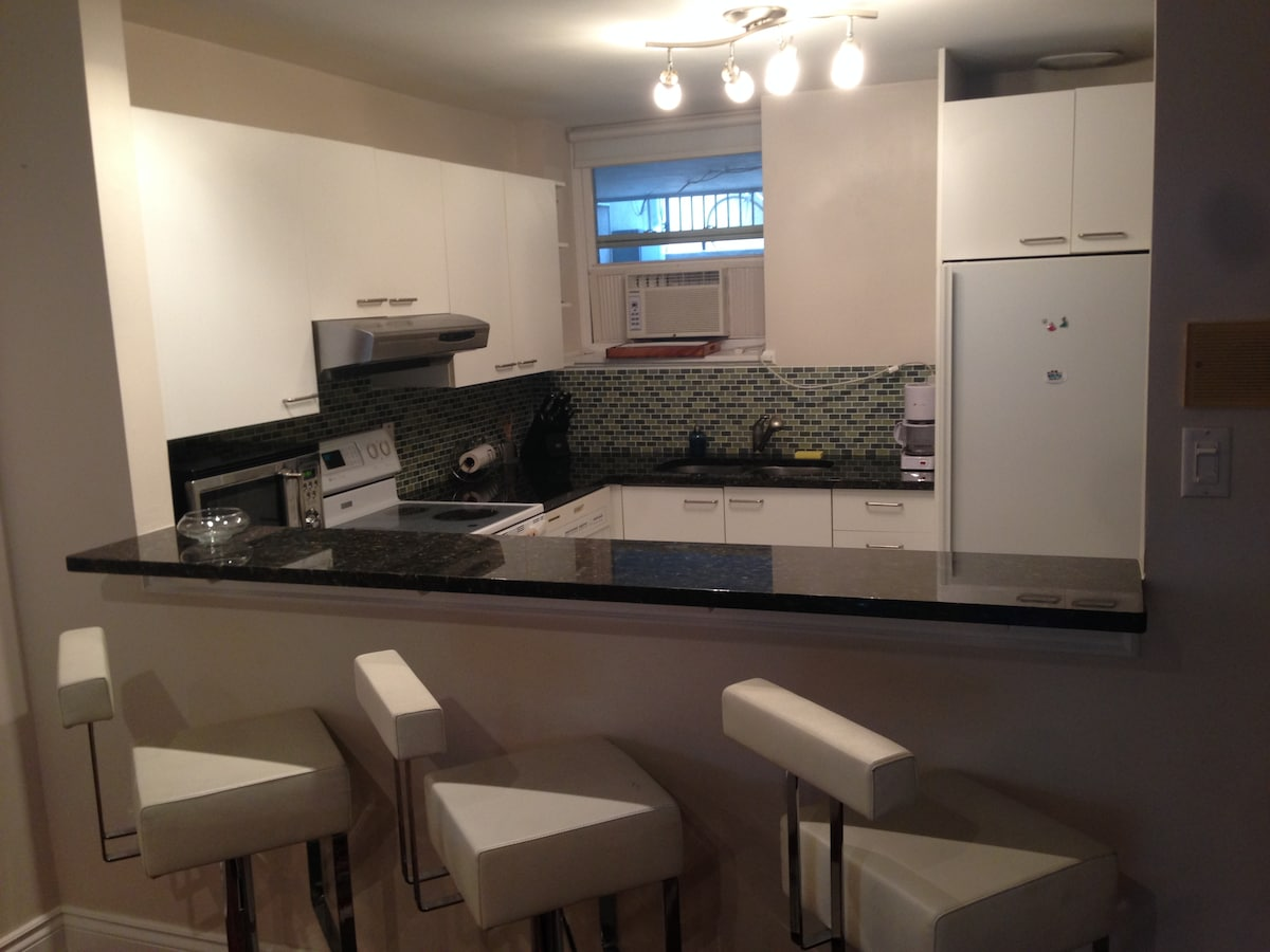 Fully appointed kitchen has everything you need.