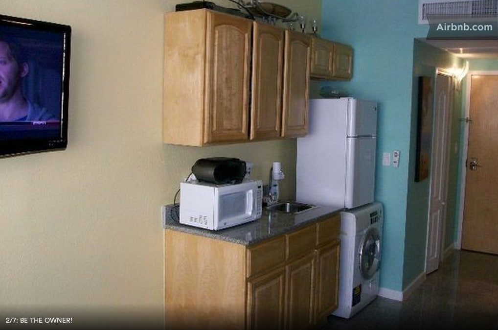 Microwave, Small Fridge and Washer and Dryer.