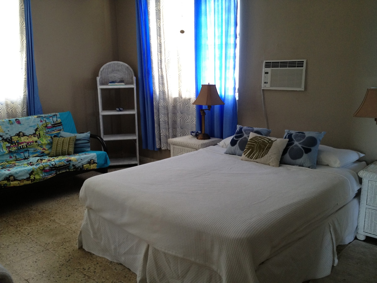 Large bedroom with double bed, futon sofa/bed, desk, full bath, plenty of unpacking space