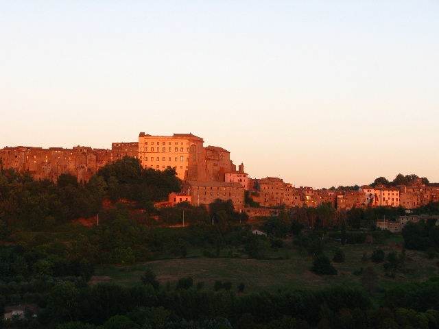 View of Bomarzo at sunset