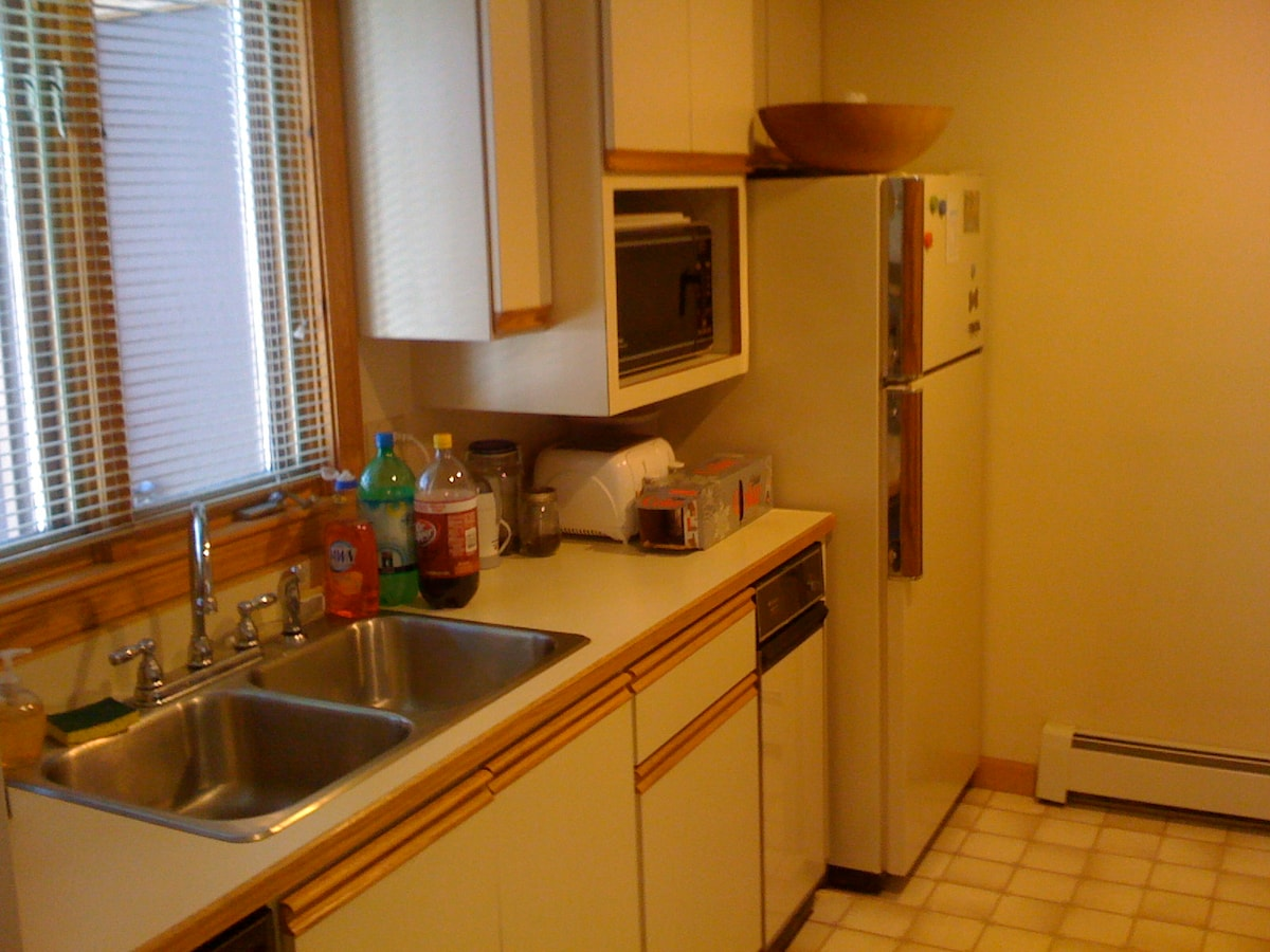 Basic kitchen with m/w, fridge, compactor, disposal