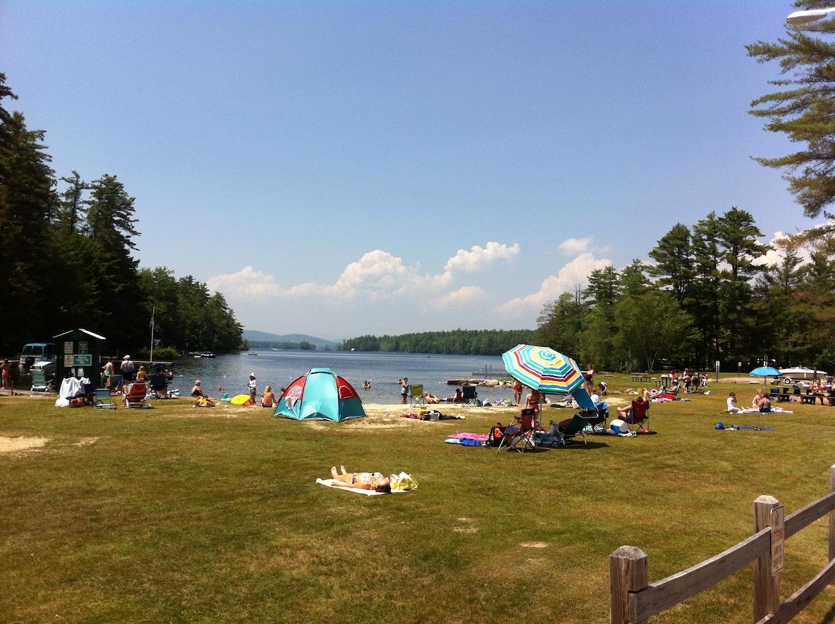Highland lake beach; 1-minute walk.
