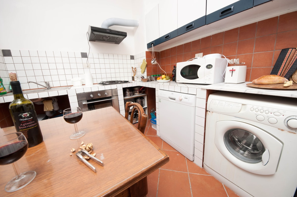 The kitchen: it has been recently restored: it is large, comfortable, modern and well equipped
