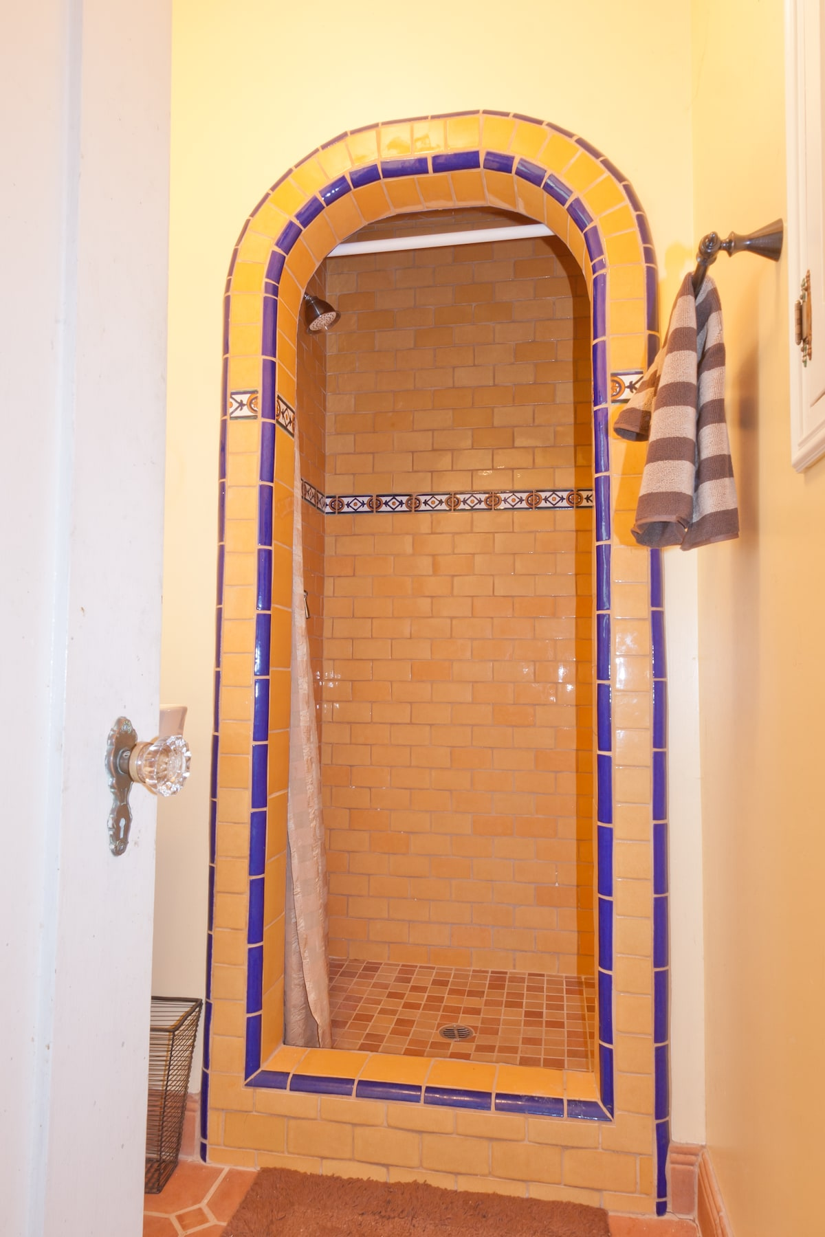 Downstairs Bathroom with cool Spanish period shower
