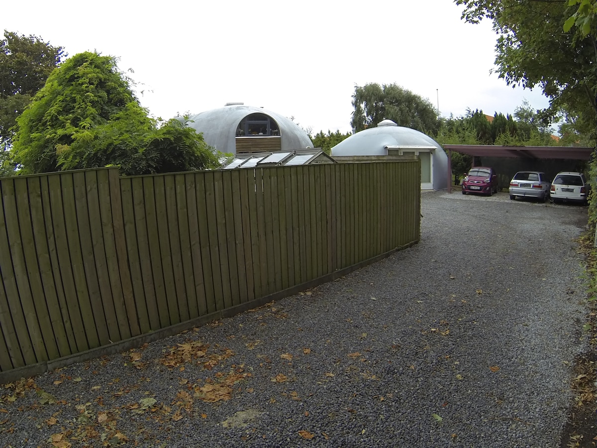Driveway as seen from the street.