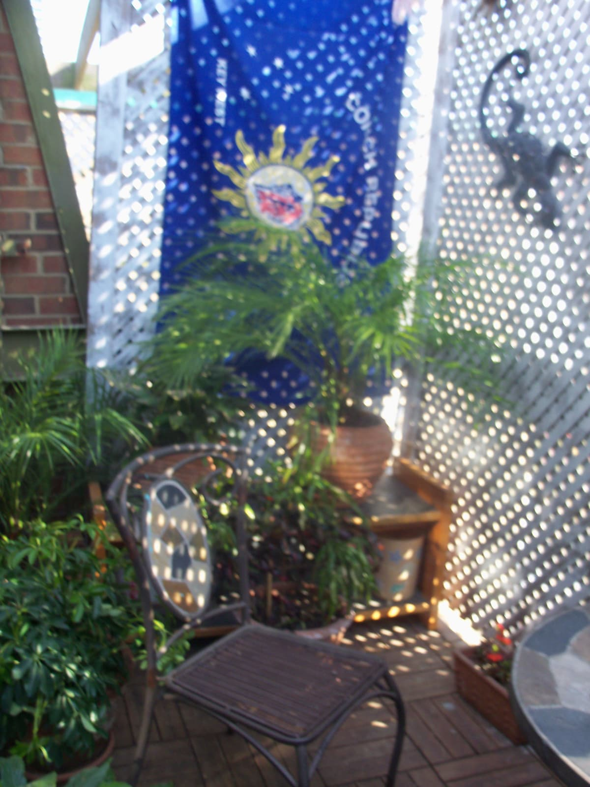 The balcony/garden patio.  A great spot for a coffee, lunch, some rest, reading.....so peaceful.