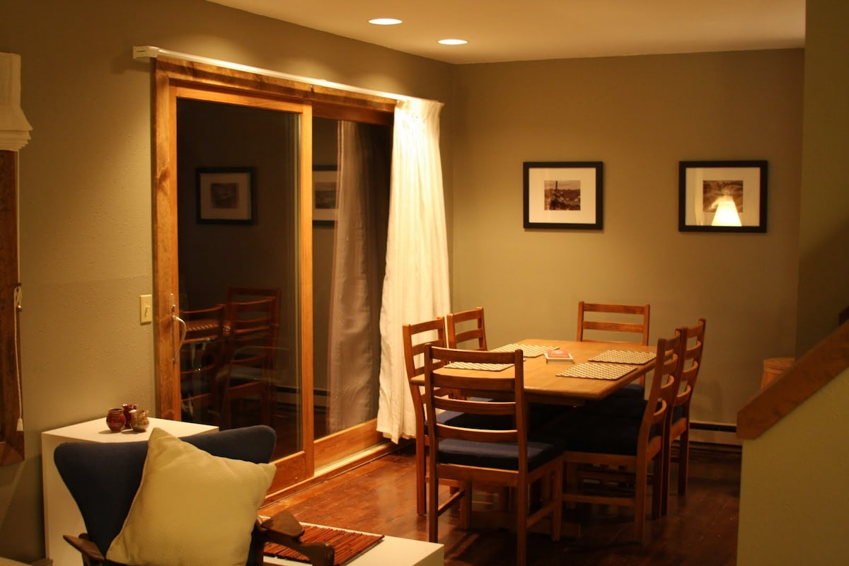 The dining room leads out to a spacious deck