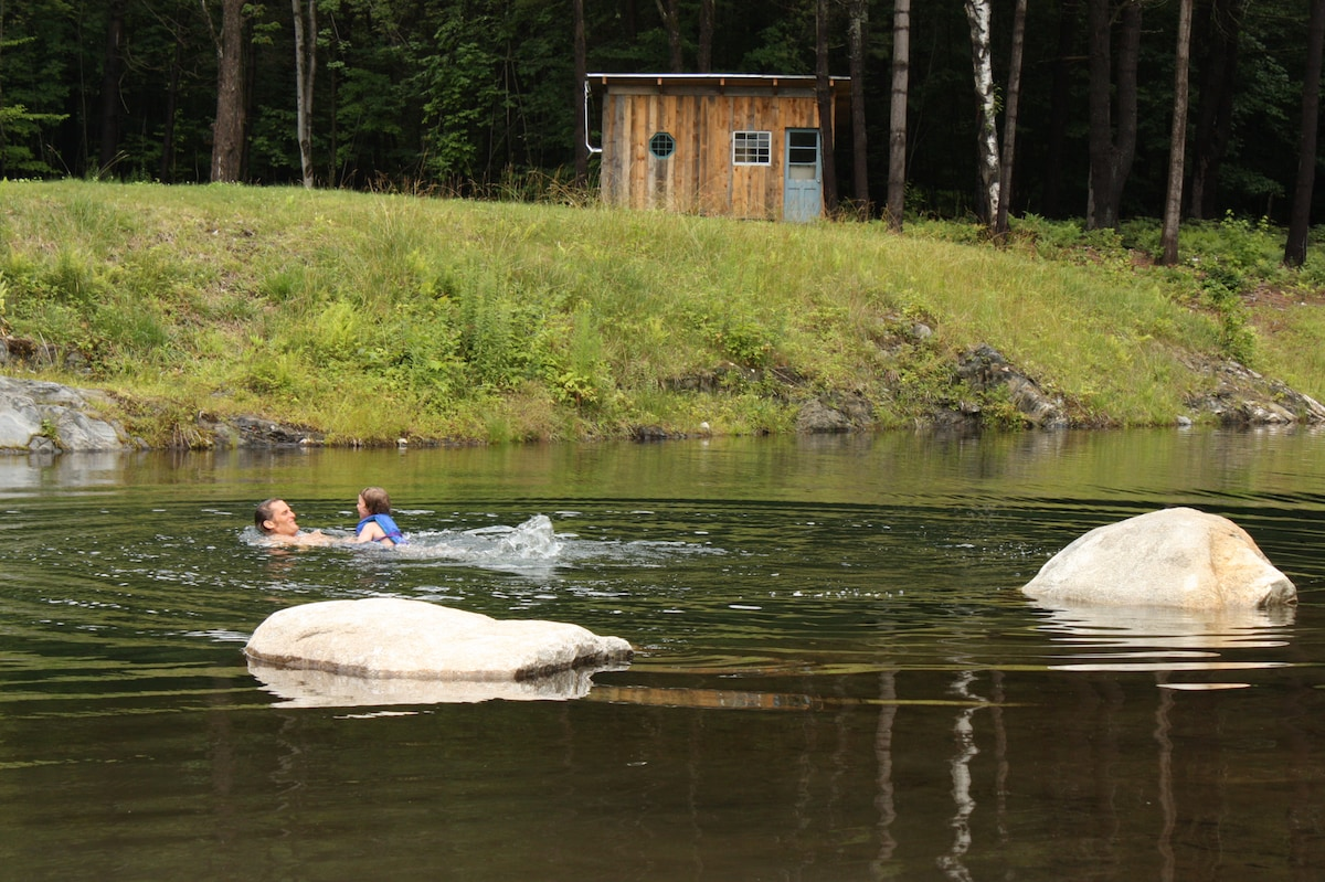 perfect pond for swimming, complete with a wood fired sauna!