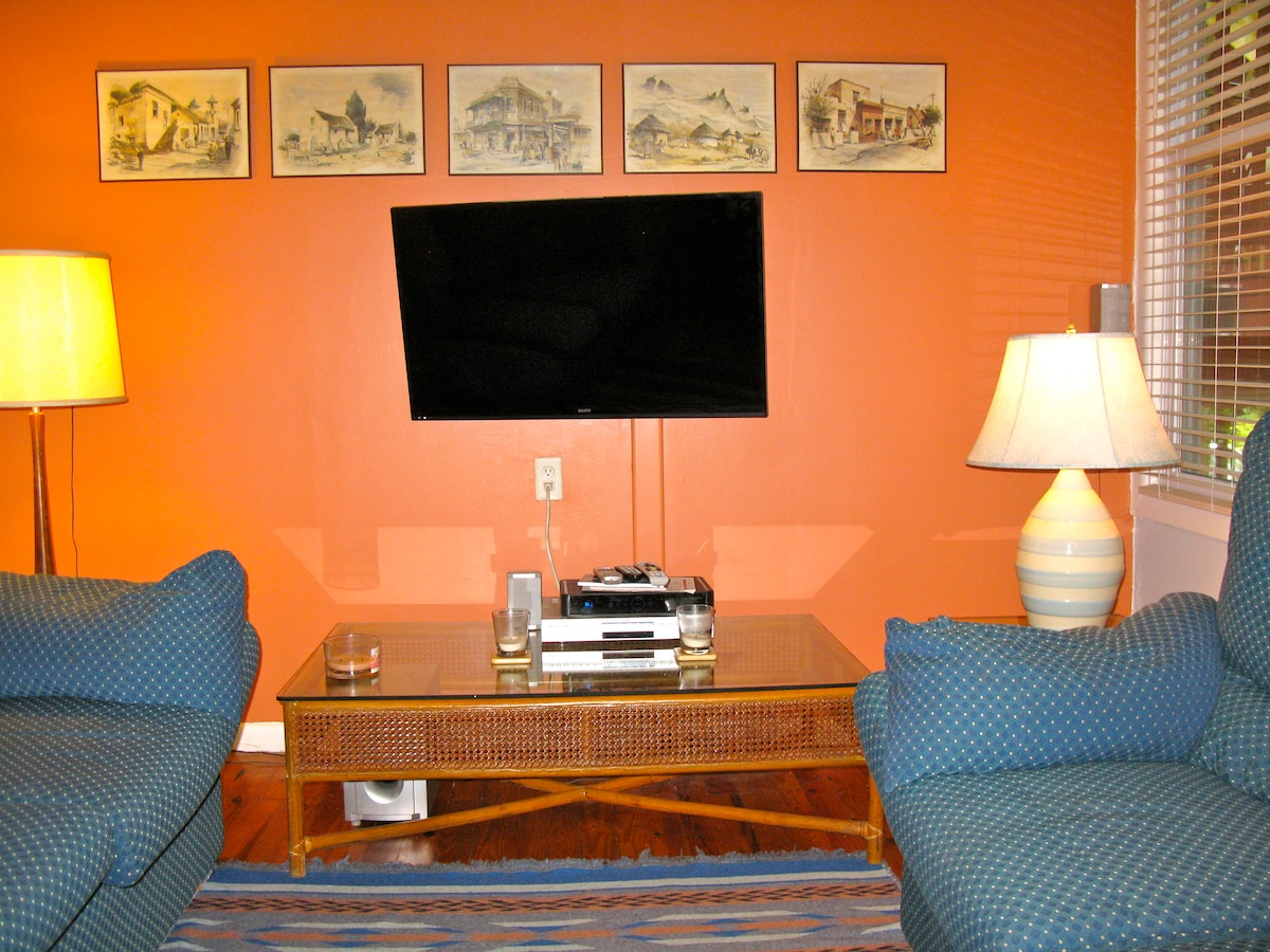 Living room features two very comfortable sofas and a large flat screen TV. Accent wall is in terra cotta, rest is tranquil ice blue.