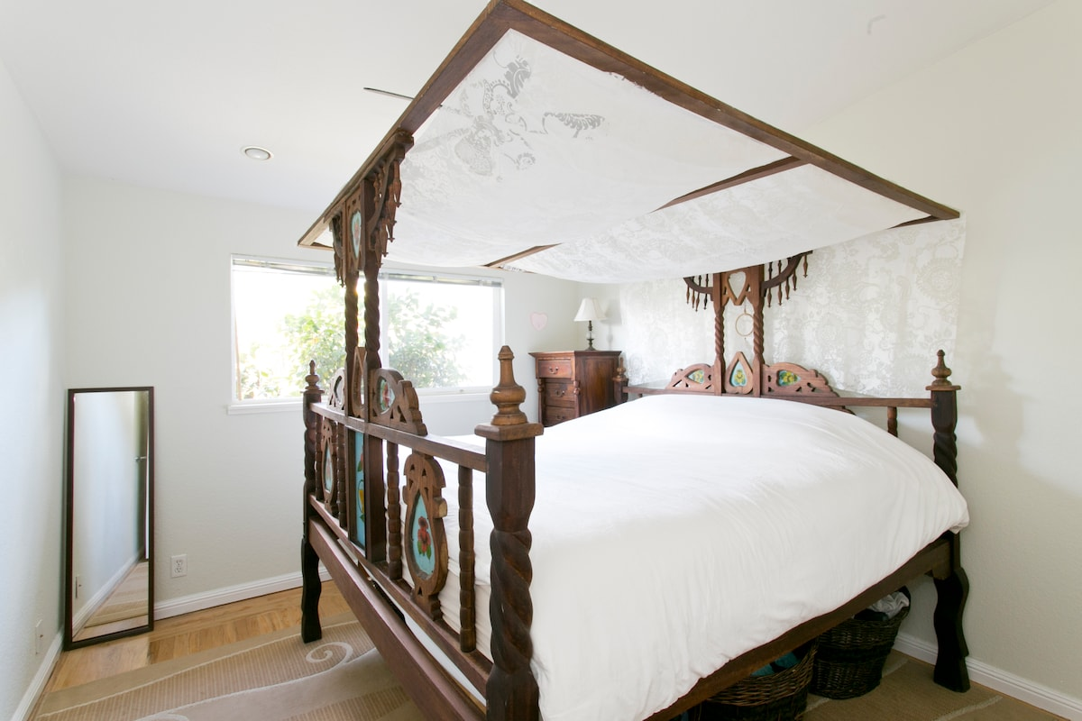Bdrm. 1- Eastern King canopy bed from Africa.